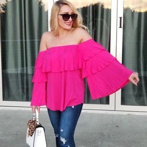 KIVI Pink Off Shoulder Top